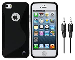 Combo Pack, High Quality Anti-Skid TPU Back Cover for Apple iPhone 5g with Audio AUX Cable Free