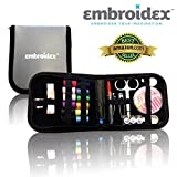 Sewing Kit Embroidex Compact Zippered Hiqh Quality Filled with Sewing Notions Supplies - Trendy Perfect for Beginners, Travel, Mending, Fashion Emergencies,Camping and Dorm Dwellers Everything Neatly Packaged Ready to Go Perfect Gift for Grandma, Mom, Brides, Girls, College Students and Campers