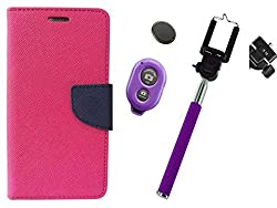 Novo Style Wallet Case Cover For Micromax Canvas Selfie Lens Q345 Pink + Selfie Stick with Adjustable Phone Holder and Bluetooth Wireless Remote Shutter