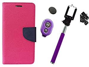 Novo Style Wallet Case Cover For Samsung Galaxy S4 I9500 Pink + Selfie Stick with Adjustable Phone Holder and Bluetooth Wireless Remote Shutter