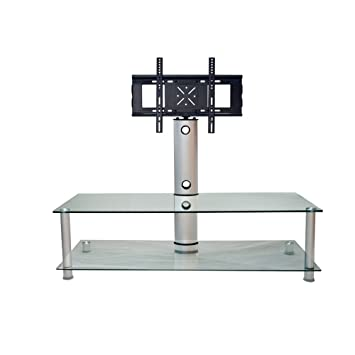RTA Home And Office Clear Glass And Walnut Plasma Lcd Tv Stand With Bracket