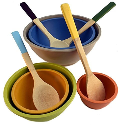 Bamboo Composite Nesting Mixing Bowls (5) and Bamboo Kitchen Tools with Color Handles (4), Set of 9 Total Pieces (Sushi Rice Bamboo Bowl compare prices)