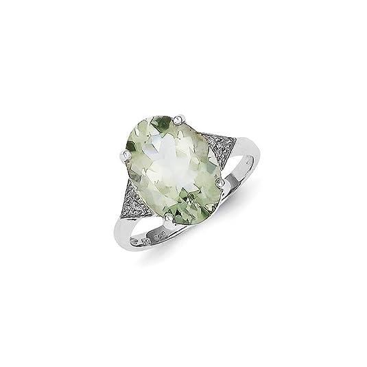 Sterling Silver Rhodium Green Quartz & Diamond Ring