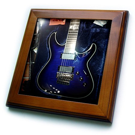 Florene - Music - Print Of Blue Electric Guitar With Chrome Skull - Framed Tiles - 8X8 Framed Tile - Ft_194734_1