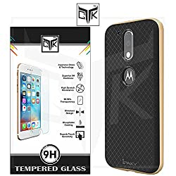 """TGKâ""""¢ Combo for Motorola Moto G PLUS 4th Gen (Combo of 1 Original iPaky Cover + 1 TGKâ""""¢ HD Tempered Glass) - Original iPaky Luxury High Quality Ultra-Thin Silicon Inner Black Back + PC Frame Bumper Back Case Cover (Golden) + TGKâ""""¢ Premium HD Tempered Glass Screen Protector With Rounded Edges (Not Compatible With Motorola Moto G 4th Gen)"""