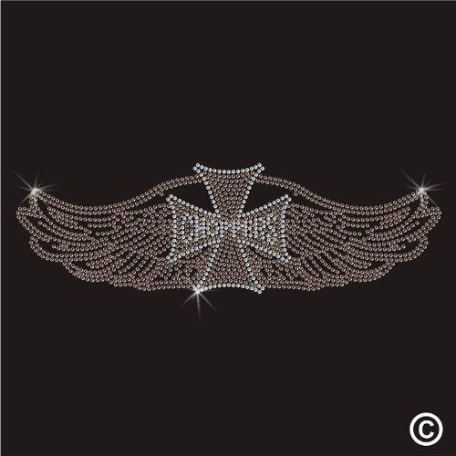 Rhinestone Diamante Crystal Iron On T Shirt Design Transfer - CHOPPER MOTORBIKE WINGS
