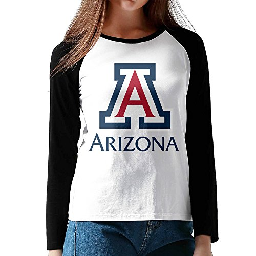 AUSIN Women's Long Sleeve Baseball Raglan Jersey Shirt University Of Arizona Black Size L (Customize Baseball Jersey compare prices)