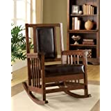 Benzi Solid Wood Leather Rocking Chair