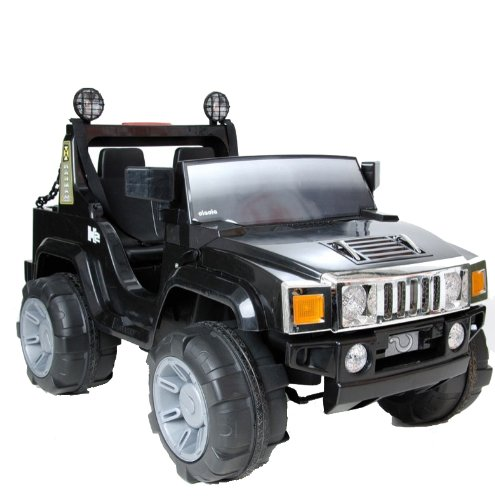 Black Electric Hummer H2 Style Jeep Ride On Car - Kids Ride on Electric 12v Battery Toy