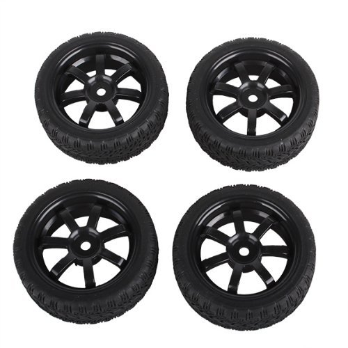 Black RC 1:10 Sport Class Flat Racing Car Wheel Rim&Tires Tyre 20156 Pack Of 4