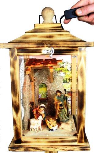 KLG-MFOS-GEFLAMMT Holzlaterne, Weihnachtskrippe MIT KRIPPENFIGUREN,Figuren, mit Beleuchtung 220V, Laterne aus Holz aus Holz geflammt gebrannt amazon schwarz - natur Glasvitrine, Vitrine, Weihnachtskrippen Antik - Look