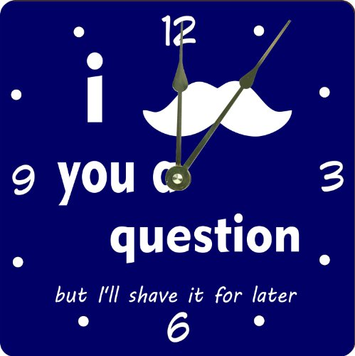 "Rikki Knighttm I Mustache You A Question Black On Blue Design 10"" Art Wall Clock front-614857"