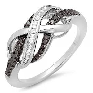 0.20 Carat (ctw) Sterling Silver Round & Baguette Cut Black & White Diamond Ladies Swirl Infinity Two Tone Wedding Ring 1/5 CT (Size 7)