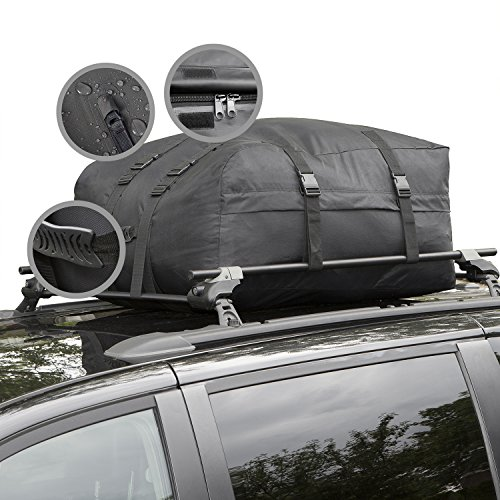 Cargo Roof Bag - Water Resistant Car Top Carrier - Easy to Install Soft Rooftop Luggage Carriers with Wide Straps - Ample Storage Space - Folds Easily - Best for Traveling, Cars, Vans, SUVs (Black) (Car Top Luggage Carriers compare prices)