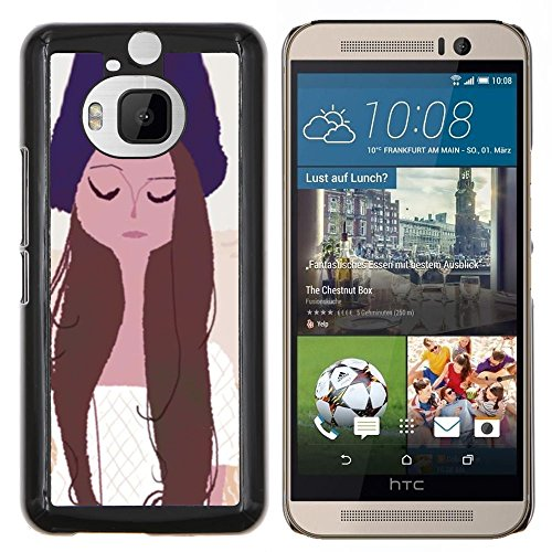 GRECELL CITY GIFT PHONE CASE /// Cellphone Custodia protettiva Caso Dura Cassa Copertura / Hard Case for HTC One M9Plus M9+ M9 Plus /// Girl Portrait Occhi chiusi Hat Art Disegno Girl Portrait Eyes Closed Hat Art Drawing
