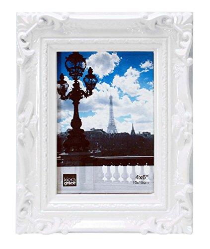 Kiera Grace Virginia Ornate Photo Frame, 4 by 6-Inch, White