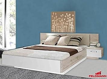 Bettanlage Bettgestell 62322 sandeiche / weiß hochglanz 285cm