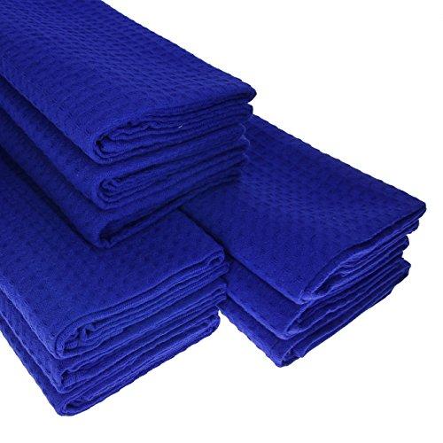 9x-Geschirrtuch-aus-100-Baumwolle-Waffel-Piqu-in-blau