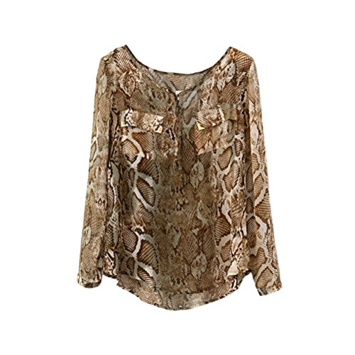 Memorose Women Chiffon Snake Serpentine Print Animal Pocket Shirts Top Blouse X-Large