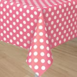 Hot Pink Polka Dot Plastic Tablecovers - 54in X 108in (Each)