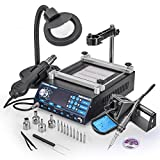 New & Improved X-Tronic MODEL 5040-XR3 All In One Hot Air Rework Soldering Iron Station With Preheater. Now Includes Plug & Play Hot Air Gun With Iron Holder & Sponge Cleaner (Color: Black)