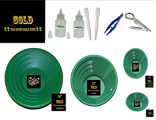 VAS 10 PC GOLD PANNING KIT #48-G 4 GOLD PANS, 4 SIZES DUAL RIDGES & FINES & FLOWERS SNIFTER & TWEEZER SET (Gold Pan Kit compare prices)