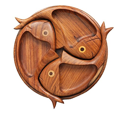 CraftsOfEgypt Indian Rose Wood 3 compartments / sections fish shape serving tray (Indian Fish compare prices)