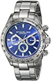 Stuhrling Original Octane Raceway Men's Quartz Watch with Blue Dial Analogue Display and Silver Stainless Steel Bracelet 564.03