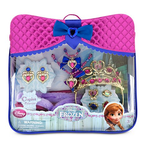 Disney Store Frozen Anna Accessory 10 Pc Set - Purse Tiara Neckl Bracel Rings