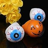 Halloween Led Light Up Flashing Eyeball Eye Ball Pumpkin Bubble Elastic Ring Rave Party Blinking Soft Finger Lights-Color Random