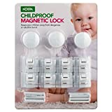 Nexpa Safety ChildProof Magnetic Cabinet Locks - 3 Keys + 8 Locks + 8 Key Bases - For Cabinets / Drawers / Etc - Easy Installation, Drill-Free - For Baby / Child Proofing