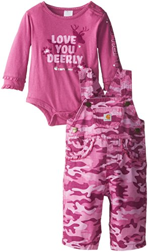 Carhartt Baby-Girls Infant Washed Camo Ripstop Bib Overall Set, Rosebud, 24 Months back-924718