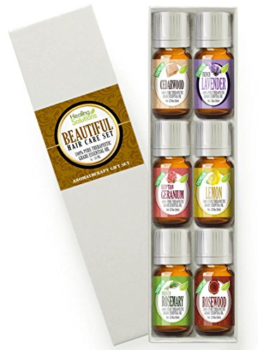 Beautiful Hair Set 100% Pure, Best Therapeutic Grade Essential Oil Kit - 6/10mL (Cedarwood, French Lavender, Geranium, Lemon, Rosemary, and Rosewood)