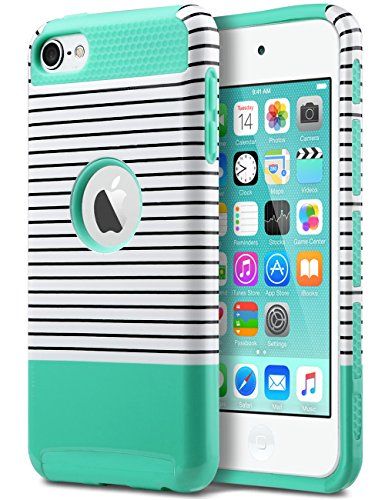 iPod Touch 6 Case,iPod Touch 5 Case,ULAK [Colorful Series] 2-Piece Style Hybrid Hard Case Cover for Apple iPod touch 5 6th Generation (Minimal Mint Stripes) (Colorful Ipod Touch Cases compare prices)
