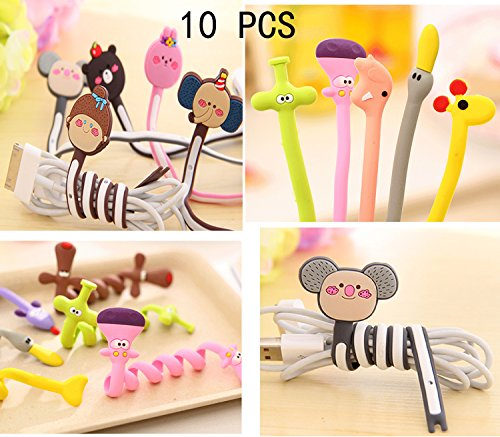 10 pcs Cute Cable Tie Management, Cable Winder, Rubber Twine Twist Gear Tie Cartoon Design Cord Manager, Coil Cord Winder Wrapper, Cord Organizers Headset Headphone Earphone Fixer Holder Pack of 10 (Headphone Cord Ties compare prices)