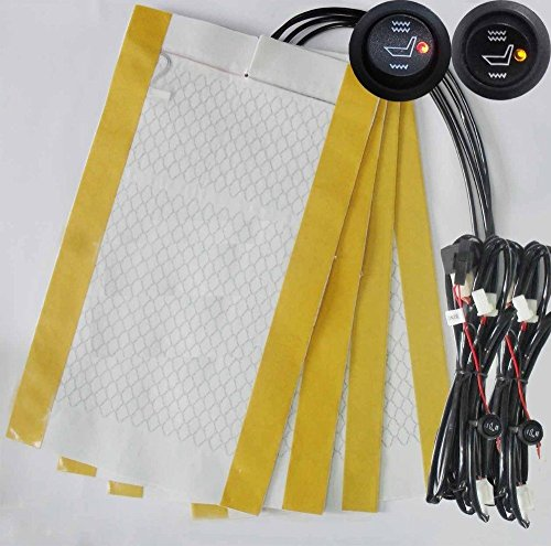 Sports Imports LLC 2 Seats Universal Carbon Fiber Dual Temp Seat Heater Installation Kits - Free 3' Switch Extension