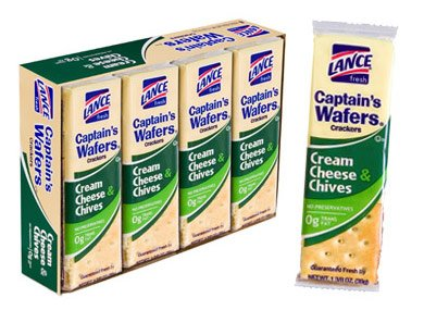 Lance Captain's Wafers Crackers Cream Cheese & Chives -Six Boxes of 8 Individual Packs (Wheat Cheese Crackers compare prices)