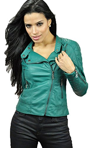 Carmin Women's Double Collared Faux Leather Motorcycle Jacket Large Teal