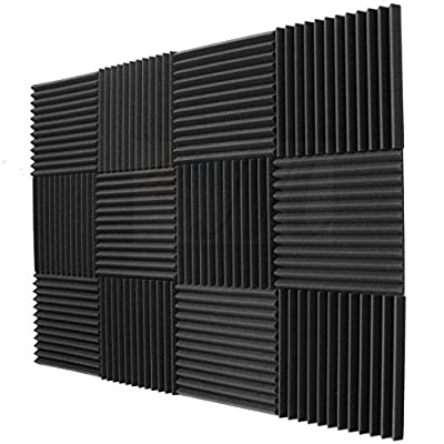 "12 Pack Acoustic Foam Wedge Panels Studio Soundproofing Wall Tiles 12"" X 12"" X 1"""
