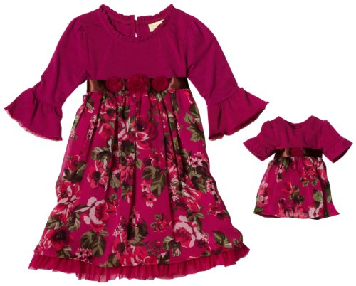 Dollie & Me Girls 2-6x Sweet Heart Rose Jersey Chiffon Mesh Dress