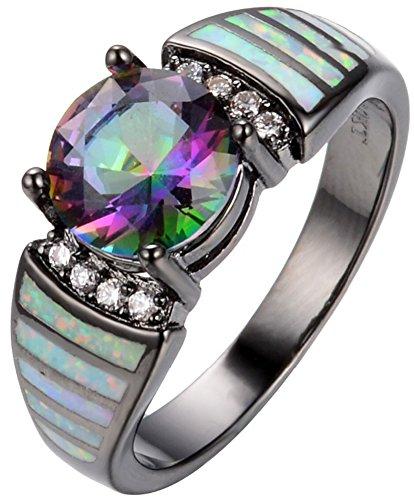 SaySure 10KT Black Gold Filled Opal Anniversary Wedding & Engagement Ring