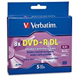 Verbatim DVD+R DL AZO 8.5 GB 8x-10x Branded Double Layer Recordable Disc  5-Disc Slim Case 95311