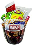 Marvel Avengers Movie Night Popcorn and Candy Gift Basket ~ Includes Butter Popcorn, Nachos and Cheese and Concession Stand Candy (Chewy)