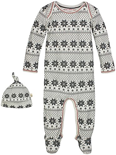 Burt's Bees Baby Baby Organic Lap Shoulder Coverall and Knot Top Hat Set, Snowflake Fair Isle, 0-3 (Infant Top Hat)