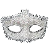 Geek-M Halloween Costume Lace with Rhinestone Venetian Mask Women Masquerade Mask White