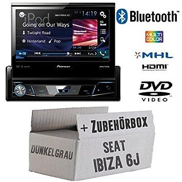 Seat Ibiza 6J Dunkelgrau - Pioneer AVH-X7800BT - 1-DIN 7-Zoll USB Bluetooth DVD - Autoradio - Einbauset
