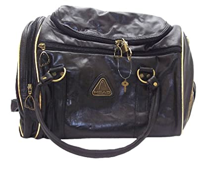 Head St Moritz Unisex Retro Black And Gold Zip Up Holdall Weekend Bag