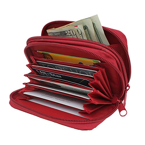 Women's RFID Blocking Wallet Leather, HDE [Identity Protection] Credit Card Holder (Red) (Change Debit Card Number compare prices)