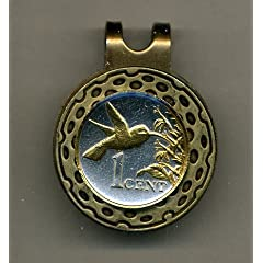 Gorgeous 2-Toned Gold on Silver Trinidad & Tobago Hummingbird - Coin - Golf Ball... by J&J Coin Jewelry