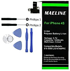 Maeline 1430mAh 3.7V Li-Ion Polymer Battery Replacement for iPhone 4S (compatible with GSM & CDMA Models A1387 / A1431) [24-Month Warranty]